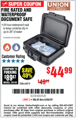 Harbor Freight Tools Coupons, Harbor Freight Coupon, HF Coupons-UNION SAFE COMPANY Waterproof and Fire Rated Document Safe for $44.99