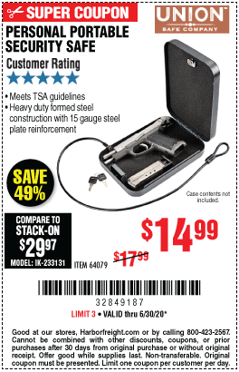 Harbor Freight Tools Coupons, Harbor Freight Coupon, HF Coupons-UNION SAFE COMPANY Personal Portable Security Safe for $14.99