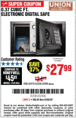 Harbor Freight Tools Coupons, Harbor Freight Coupon, HF Coupons-UNION SAFE COMPANY 0.37 Cubic Ft. Electronic Digital Safe for $27.99
