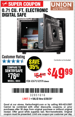 Harbor Freight Tools Coupons, Harbor Freight Coupon, HF Coupons-UNION SAFE COMPANY 0.71 cu. ft. Electronic Digital Safe for $49.99