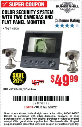 Harbor Freight Tools Coupons, Harbor Freight Coupon, HF Coupons-BUNKER HILL SECURITY Color Security System with Night Vision for $49.99