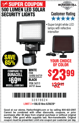 Harbor Freight Tools Coupons, Harbor Freight Coupon, HF Coupons-BUNKER HILL SECURITY 500 Lumen LED Solar Security Light for $23.99