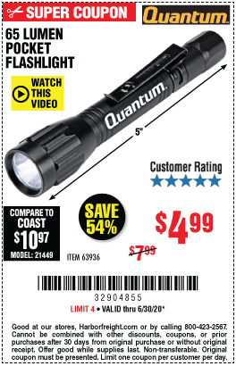 Harbor Freight Tools Coupons, Harbor Freight Coupon, HF Coupons-QUANTUM 65 Lumen Pocket Flashlight for $4.99
