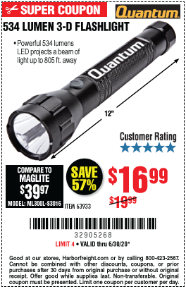 Harbor Freight Tools Coupons, Harbor Freight Coupon, HF Coupons-QUANTUM 534 Lumen 3 D Flashlight for $16.99
