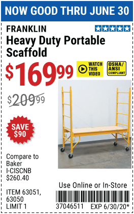 Harbor Freight Tools Coupons, Harbor Freight Coupon, HF Coupons-FRANKLIN Heavy Duty Portable Scaffold for $169.99