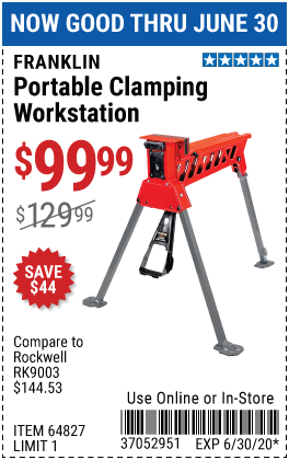 Harbor Freight Tools Coupons, Harbor Freight Coupon, HF Coupons-FRANKLIN Hands-Free Portable Workstation with 1 Ton Clamping Force for $99.99