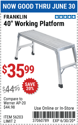 Harbor Freight Tools Coupons, Harbor Freight Coupon, HF Coupons-FRANKLIN 40 In. Lightweight Aluminum Work Platform for $35.99