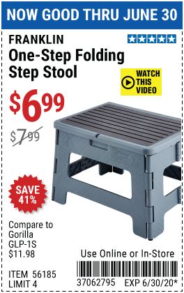 Harbor Freight Tools Coupons, Harbor Freight Coupon, HF Coupons-FRANKLIN One-Step Folding Stool for $6.99