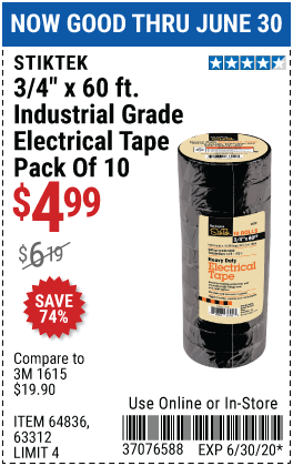 Harbor Freight Tools Coupons, Harbor Freight Coupon, HF Coupons-STIKTEK 3/4 In x 60 Ft Industrial Grade Electrical Tape 10 Pk. for $4.99