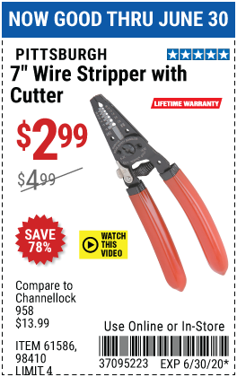 Harbor Freight Tools Coupons, Harbor Freight Coupon, HF Coupons-PITTSBURGH 7 in. Wire Stripper with Cutter for $2.99