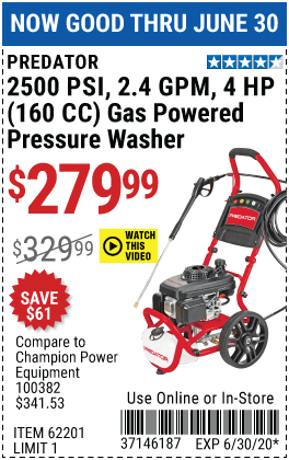 Harbor Freight Tools Coupons, Harbor Freight Coupon, HF Coupons-PREDATOR 2500 PSI 2.4 GPM 4 HP (160cc) Pressure Washer EPA/CARB for $279.99