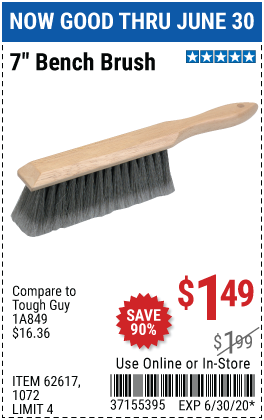 Harbor Freight Tools Coupons, Harbor Freight Coupon, HF Coupons-7 In. Bench Brush for $1.49
