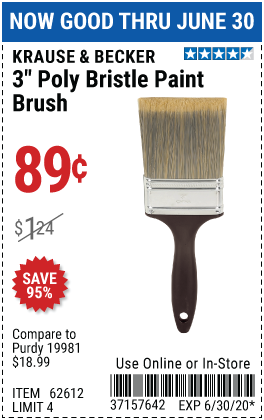 Harbor Freight Tools Coupons, Harbor Freight Coupon, HF Coupons-KRAUSE & BECKER 3 In. Professional Paint Brush for $0.89