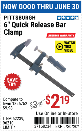 Harbor Freight Tools Coupons, Harbor Freight Coupon, HF Coupons-PITTSBURGH 6 in. Quick Release Bar Clamp for $2.19