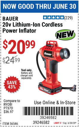 Harbor Freight Tools Coupons, Harbor Freight Coupon, HF Coupons-Get the Bauer Cordless Power Inflator for $20.99