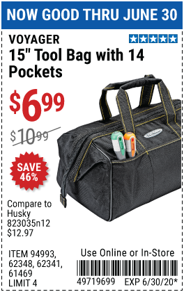 Harbor Freight Tools Coupons, Harbor Freight Coupon, HF Coupons-VOYAGER 15 in. Tool Bag with 14 Pockets for $6.99