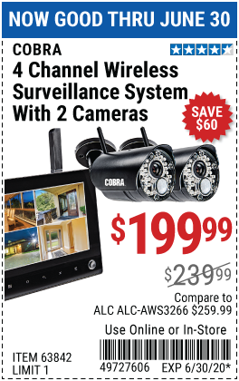 Harbor Freight Tools Coupons, Harbor Freight Coupon, HF Coupons-COBRA 4 Channel Wireless Surveillance System with 2 Cameras for $199.99