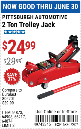 Harbor Freight Tools Coupons, Harbor Freight Coupon, HF Coupons-PITTSBURGH AUTOMOTIVE 2 ton Compact Trolley Jack for $24.99