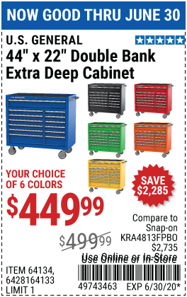 Harbor Freight Tools Coupons, Harbor Freight Coupon, HF Coupons-U.S. GENERAL SERIES 2 44 In. X 22 In. Double Bank Roller Cabinet for $449.99