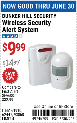 Harbor Freight Tools Coupons, Harbor Freight Coupon, HF Coupons-BUNKER HILL SECURITY Wireless Security Alert System for $9.99