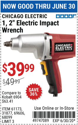 Harbor Freight Tools Coupons, Harbor Freight Coupon, HF Coupons-CHICAGO ELECTRIC 1/2 in. Heavy Duty Electric Impact Wrench for $39.99