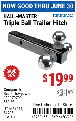 Harbor Freight Tools Coupons, Harbor Freight Coupon, HF Coupons-HAUL-MASTER Triple Ball Trailer Hitch for $19.99