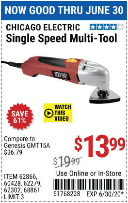 Harbor Freight Tools Coupons, Harbor Freight Coupon, HF Coupons-CHICAGO ELECTRIC Oscillating Multi-Tool for $13.99