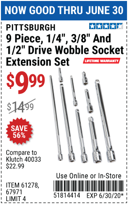 Harbor Freight Tools Coupons, Harbor Freight Coupon, HF Coupons-PITTSBURGH Wobble Socket Extension Set 9 Pc. for $9.99