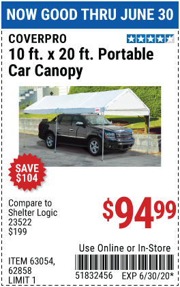 Harbor Freight Tools Coupons, Harbor Freight Coupon, HF Coupons-COVERPRO 10 Ft. X 20 Ft. Portable Car Canopy for $94.99