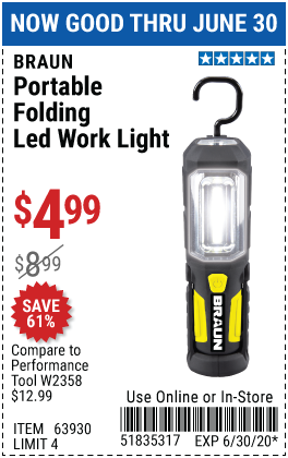 Harbor Freight Tools Coupons, Harbor Freight Coupon, HF Coupons-BRAUN Portable Folding LED Work Light for $4.99