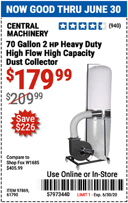 Harbor Freight Tools Coupons, Harbor Freight Coupon, HF Coupons-CENTRAL MACHINERY 70 gallon 2 HP Heavy Duty High Flow High Capacity Dust Collector for $179.99