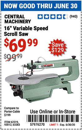 Harbor Freight Tools Coupons, Harbor Freight Coupon, HF Coupons-CENTRAL MACHINERY 16 in. Variable Speed Scroll Saw for $69.99