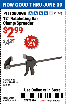 Harbor Freight Tools Coupons, Harbor Freight Coupon, HF Coupons-PITTSBURGH 12 in. Ratcheting Bar Clamp/Spreader for $2.99