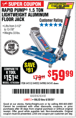 Harbor Freight Tools Coupons, Harbor Freight Coupon, HF Coupons-PITTSBURGH 1.5 Ton Aluminum Rapid Pump Racing Floor Jack for $59.99