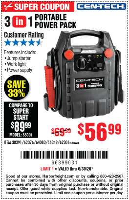Harbor Freight Tools Coupons, Harbor Freight Coupon, HF Coupons-CEN-TECH 3-In-1 Portable Power Pack With Jump Starter for $56.99