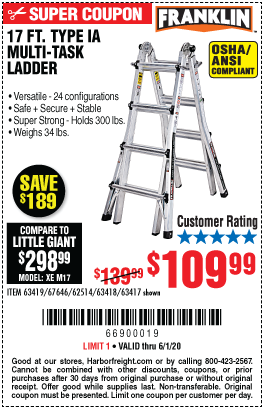 Harbor Freight Tools Coupons, Harbor Freight Coupon, HF Coupons-FRANKLIN 17 Ft. Type IA Multi-Task Ladder for $109.99