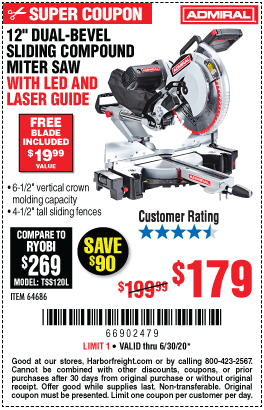 Harbor Freight Tools Coupons, Harbor Freight Coupon, HF Coupons-ADMIRAL 12 In. Dual-Bevel Sliding Compound Miter Saw With LED & Laser Guide for $179