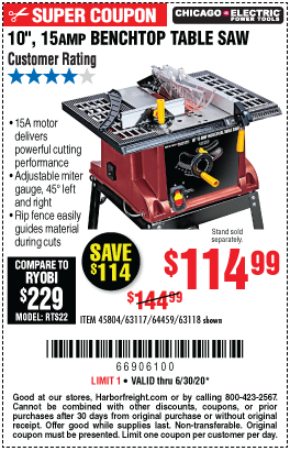 Harbor Freight Tools Coupons, Harbor Freight Coupon, HF Coupons-CHICAGO ELECTRIC 10 In. 15 Amp Benchtop Table Saw for $114.99