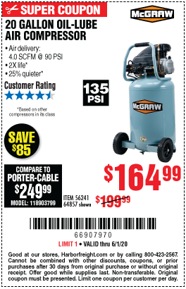 Harbor Freight Tools Coupons, Harbor Freight Coupon, HF Coupons-MCGRAW 20 Gallon 1.6 HP 135 PSI Oil Lube Vertical Air Compressor for $164.99