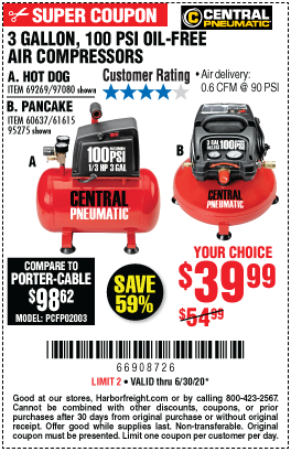 Harbor Freight Tools Coupons, Harbor Freight Coupon, HF Coupons-CENTRAL PNEUMATIC 3 Gal. 1/3 HP 100 PSI Oil-Free Pancake Air Compressor for $39.99