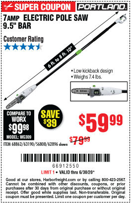 Harbor Freight Tools Coupons, Harbor Freight Coupon, HF Coupons-PORTLAND 9.5 In. 7 Amp Electric Pole Saw for $59.99