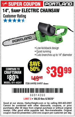 Harbor Freight Tools Coupons, Harbor Freight Coupon, HF Coupons-PORTLAND 9 Amp 14 In. Electric Chainsaw for $39.99