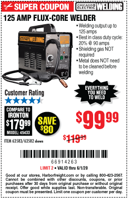 Harbor Freight Tools Coupons, Harbor Freight Coupon, HF Coupons-CHICAGO ELECTRIC Flux 125 Welder for $99.99