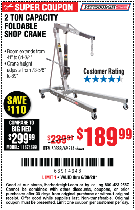 Harbor Freight Tools Coupons, Harbor Freight Coupon, HF Coupons-PITTSBURGH AUTOMOTIVE 2 Ton Capacity Foldable Shop Crane for $189.99