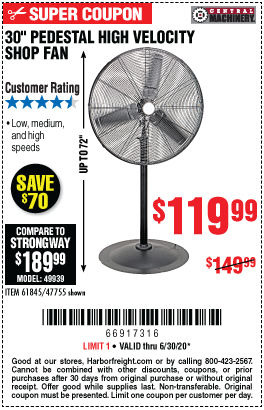 Harbor Freight Tools Coupons, Harbor Freight Coupon, HF Coupons-CENTRAL MACHINERY 30 In. Pedestal High Velocity Shop Fan for $119.99