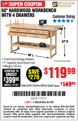 Harbor Freight Tools Coupons, Harbor Freight Coupon, HF Coupons-WINDSOR DESIGN 60 In. 4 Drawer Hardwood Workbench for $119.99