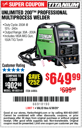 Harbor Freight Tools Coupons, Harbor Freight Coupon, HF Coupons-TITANIUM Unlimited 200 Professional Multiprocess Welder With 120/240 Volt Input for $649.99