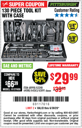 Harbor Freight Tools Coupons, Harbor Freight Coupon, HF Coupons-PITTSBURGH 130 Pc Tool Kit With Case for $29.99
