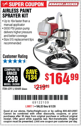 Harbor Freight Tools Coupons, Harbor Freight Coupon, HF Coupons-KRAUSE & BECKER Airless Paint Sprayer Kit for $164.99