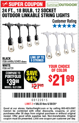 Harbor Freight Tools Coupons, Harbor Freight Coupon, HF Coupons-LUMINAR OUTDOOR 24 Ft. 12 Bulb Outdoor String Lights for $21.99